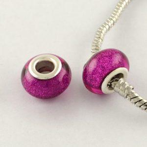 Large Hole Acrylic European Beads - Magenta - Riverside Beads