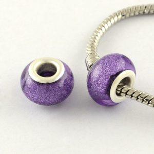 Large Hole Acrylic European Beads - Purple - Riverside Beads