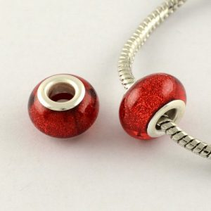 Large Hole Acrylic European Beads - Red - Riverside Beads