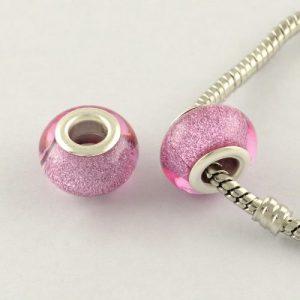Large Hole Acrylic European Beads - Rose Pink - Riverside Beads