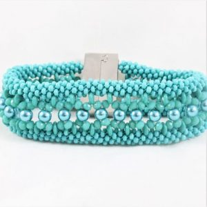 Teal Maxine Eight Braid Lentil Cuff-riverside beads