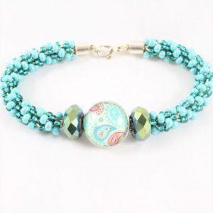 Mint/Cream Beaded Popper Kumihimo Kit-riverside beads