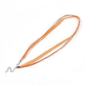 Ribbon Cord Necklace Orange - Riverside Beads