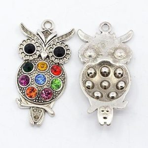Diamante Owl Charms - Silver Plated - Riverside Beads