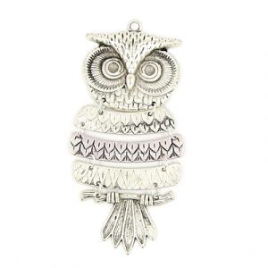 Five Part Owl Charm - Silver Plated - Riverside Beads