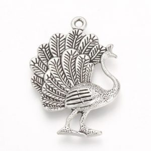 Peacock Charms - Silver Plated - Riverside Beads