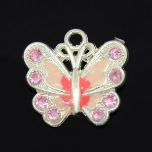 Pink Enamel Butterfly Charms - Riverside Beads