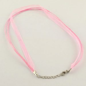 Ribbon Cord Necklace Pink - Riverside Beads