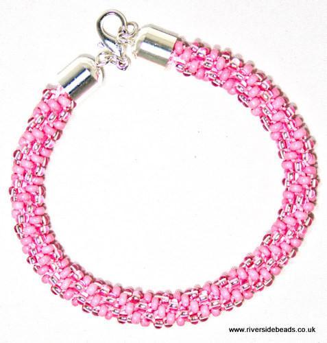 Pink Beaded Kumihimo Bracelet-riverside beads