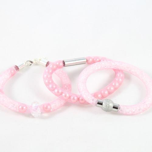 Crystal Mesh Bracelet - Pink-riverside beads