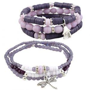 Boho Bracelet Collection Purple-riverside beads
