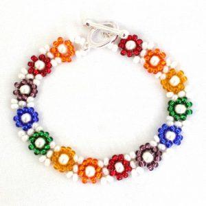 Rainbow Daisy Chain Bracelet - Riverside Beads