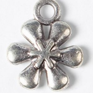 Six Petal Flower Charms - Silver Plated - Riverside Beads