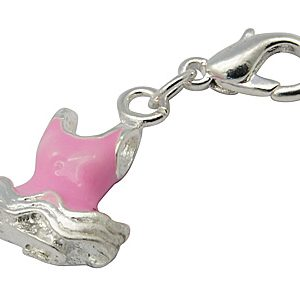 Pink Enamel Swimsuit Charm - Silver Plated - Riverside Beads