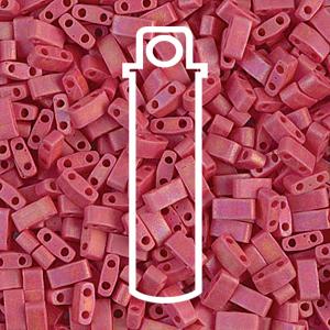 Miyuki Half Tila Beads - Matte Opaque Red AB - Riverside Beads