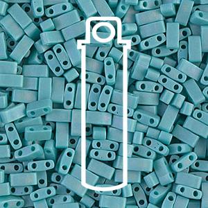 Miyuki Half Tila Beads - Matte Opaque Turquoise AB - Riverside Beads