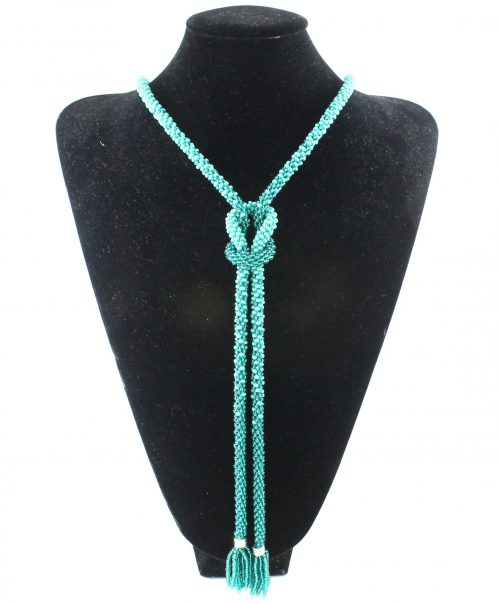 Teal Infinity Knot Beaded Necklace -riverside beads