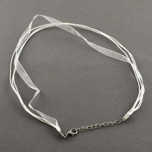 Ribbon Cord Necklace White - Riverside Beads