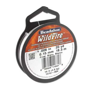 Wildfire Bonded Bead Weaving Thread - White 0.15mm - 0.006in - Riverside Beads