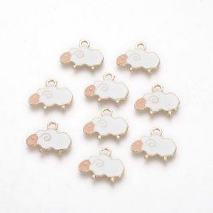 Enamel White Sheep Charm - Riverside Beads