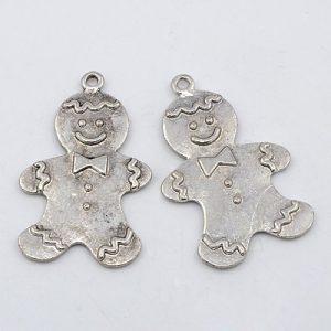 Gingerbread Man Charm - Silver - Riverside Beads