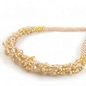 Gold Crystal Kumihimo Necklace-riverside beads