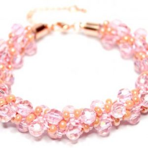 Pink Crystal Kumihimo Bracelet-riverside beads