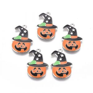 Enamel Witches Hat Pumpkin Charm - Riverside Beads