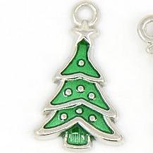 Enamel Green Christmas Tree Charms - Riverside Beads