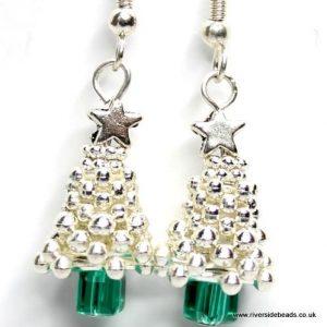 Silver Tree Earrings Sparkle-riverside beads