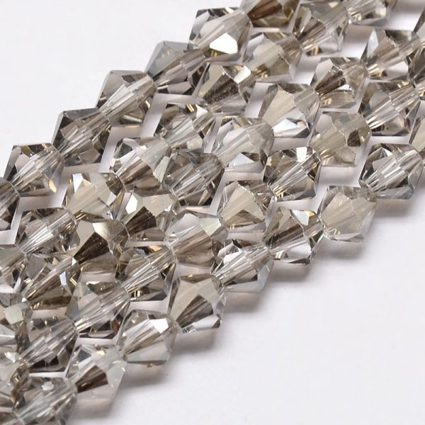 Crystal Bicone Bead - Light Grey - Riverside Beads
