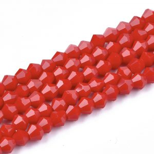 Crystal Bicone Bead - Red - Riverside Beads