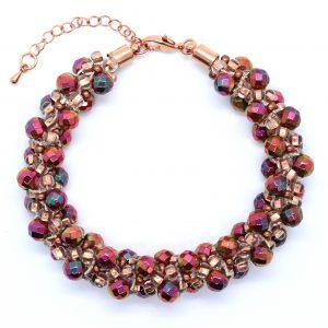 Rose Gold Crystal Kumihimo - Riverside Beads