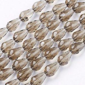 Crystal Drop Bead - Grey - Riverside Beads