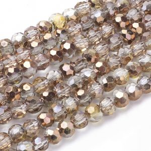 4mm Round Glass Faceted Crystal - Copper - Riverside Beads