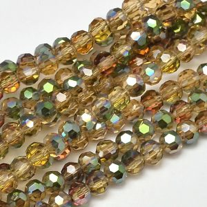 4mm Round Glass Faceted Crystal - Gold AB - Riverside Beads