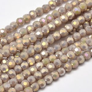 4mm Round Glass Faceted Crystal - Lilac AB - Riverside Beads