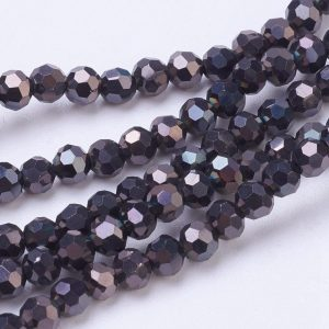 4mm Round Glass Faceted Crystal - Metallic Black - Riverside Beads