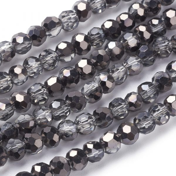 4mm Round Glass Faceted Crystal - Mirrored Black - Riverside Beads