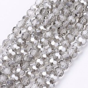 4mm Round Glass Faceted Crystal - Mirrored Grey - Riverside Beads