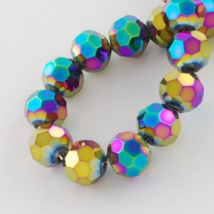 4mm Round Glass Faceted Crystal - Multi-Colour - Riverside Beads