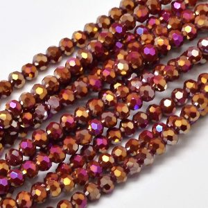 4mm Round Glass Faceted Crystal - Red AB - Riverside Beads