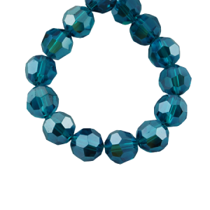 6mm Round Glass Faceted Crystal - Dark Cyan - Riverside Beads