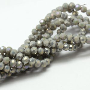 6mm Round Glass Faceted Crystal - Light Grey - Riverside Beads