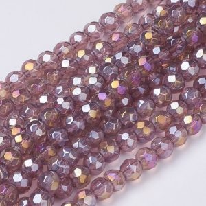 6mm Round Glass Faceted Crystal - Light Purple - Riverside Beads