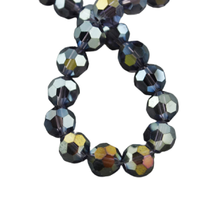 6mm Round Glass Faceted Crystal - Midnight Blue - Riverside Beads