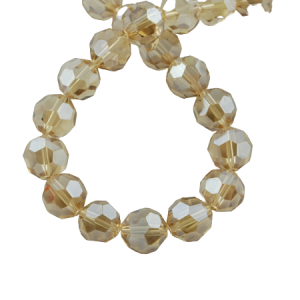 6mm Round Glass Faceted Crystal - Pale Gold - Riverside Beads
