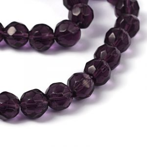 6mm Round Glass Faceted Crystal - Purple - Riverside Beads