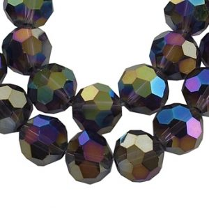 6mm Round Glass Faceted Crystal - Purple AB - Riverside Beads