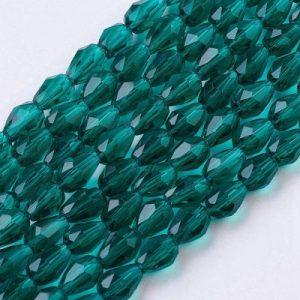 Crystal Drop Bead - Teal - Riverside Beads